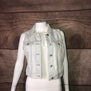 Gap Womens Jean Vest Light Blue Short Cropped M